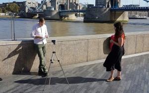 Film shoot with Warren Rogers, Director, Connection Crew