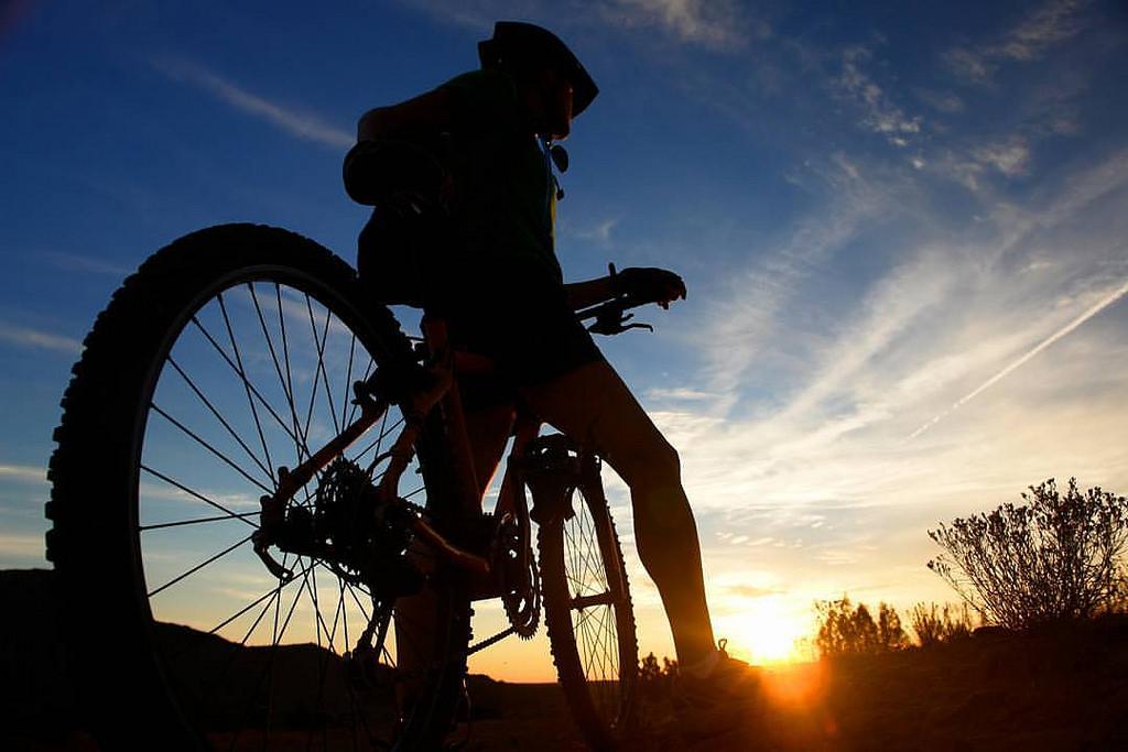 Cyclist on his bike
